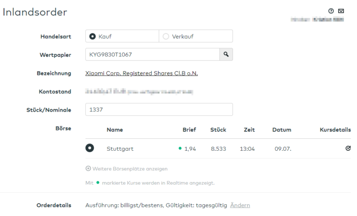 Comdirect Order: Xiaomi Aktien an der Börse Stuttgart (1337 Aktien stimmt nicht ;-))