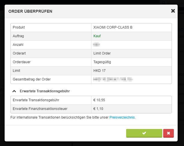 Aufgegebene Limit: Order Xiaomi-Aktien für 17 HKD