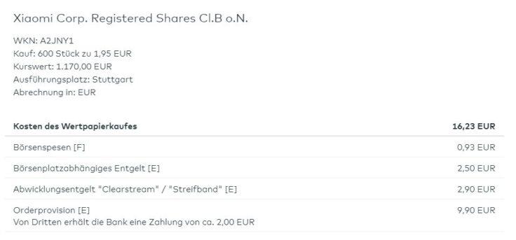 16,33€ Orderkosten bei comdirect