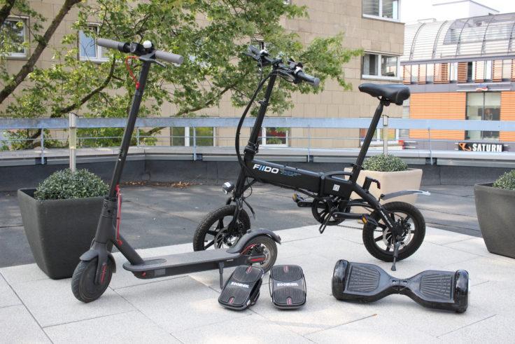E-Mobilitaet verschiedene Gadgets