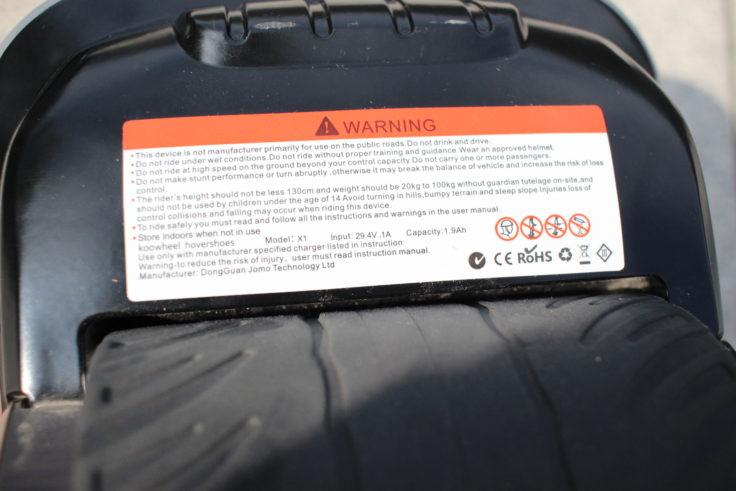 KOOWHEEL Hoverschuhe Warnhinweis CE Kennzeichnung