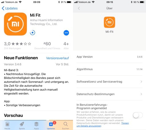 Mi Fit iOS Update