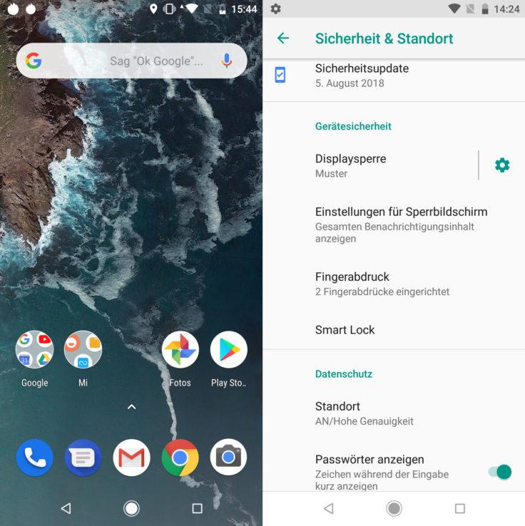 Xiaomi MI A2 Android Betriebssystem und Sicherheitspatch