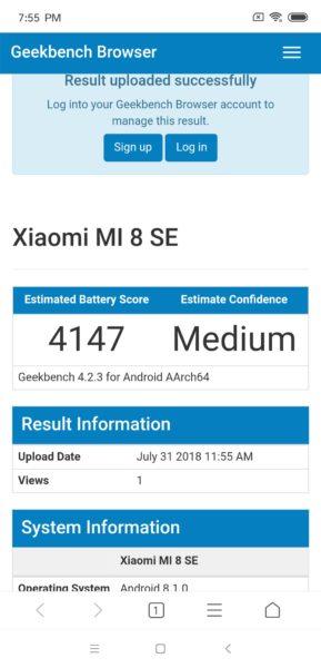 Xiaomi Mi 8 SE Akku Benchmark