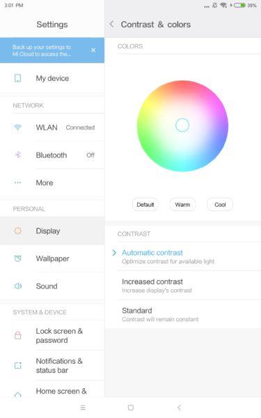 Xiaomi Mi Pad 4 Display Einstellungen