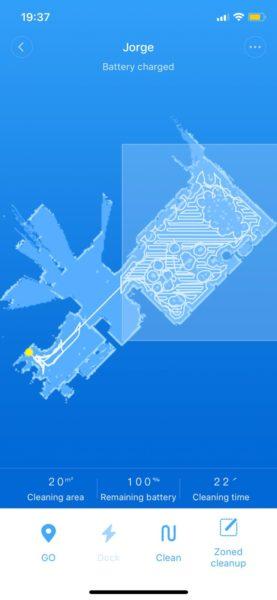 Xiaomi RoboRock Sweep One S50 Saugroboter Karte schräg gezeichnet