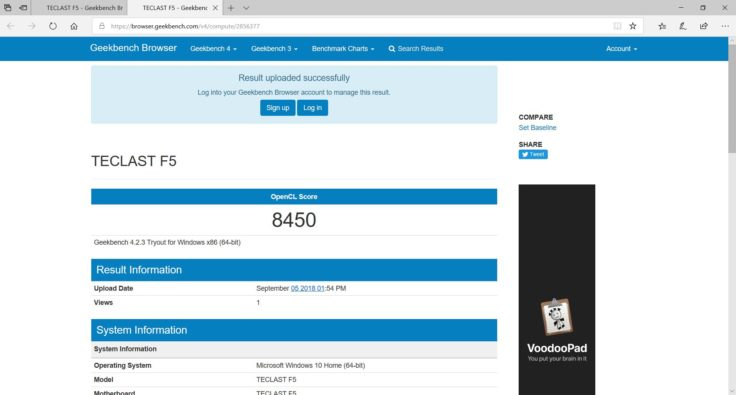Geekbench OpenCL Benchmark Teclast F5