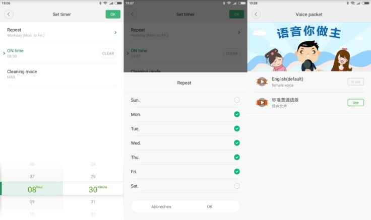 RoboRock Xiaowa E35 Saugroboter Mi Home App Arbeitszeiten