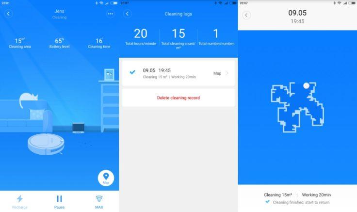 RoboRock Xiaowa E35 Saugroboter Mi Home App History