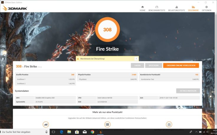 3DMark Fire Strike CHUWI LapBook SE