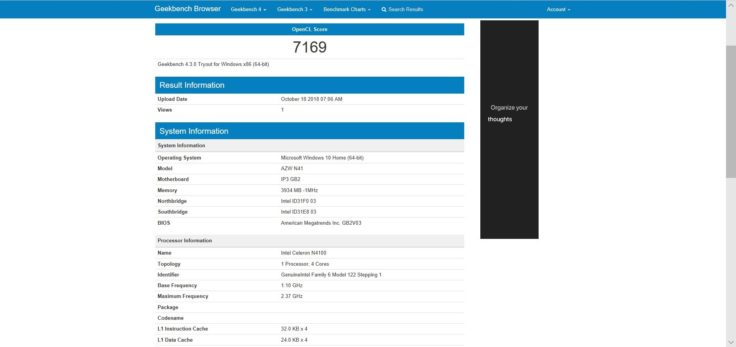Geekbench 4 OpenCL Benchmarktest Alfawise T1