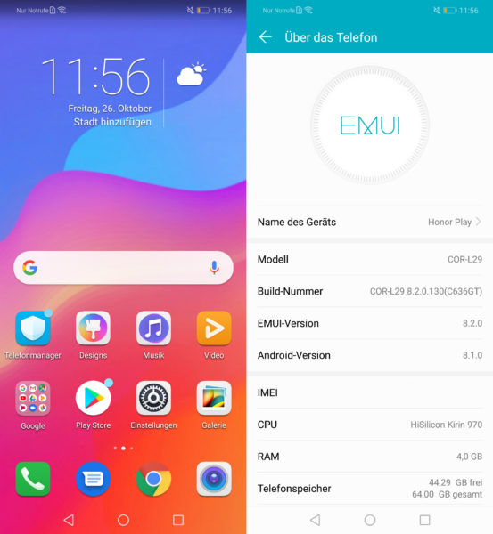Honor Play EMUI Software