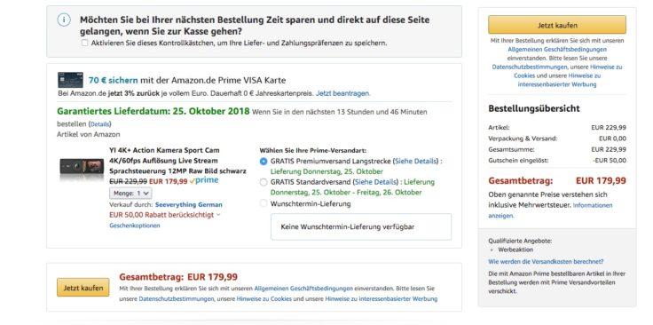 YI 4K+ Action Cam Amazon Gutschein