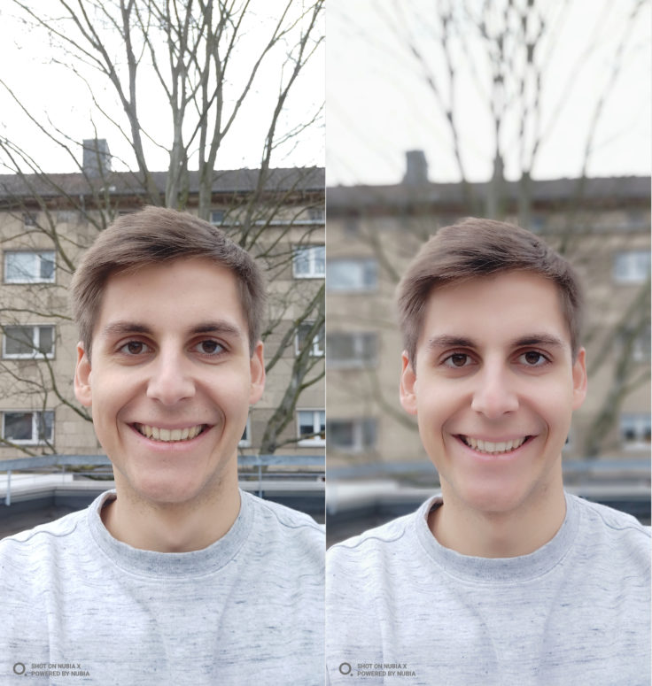 Nubia X Testfoto Selfie Porrtait Vergleich