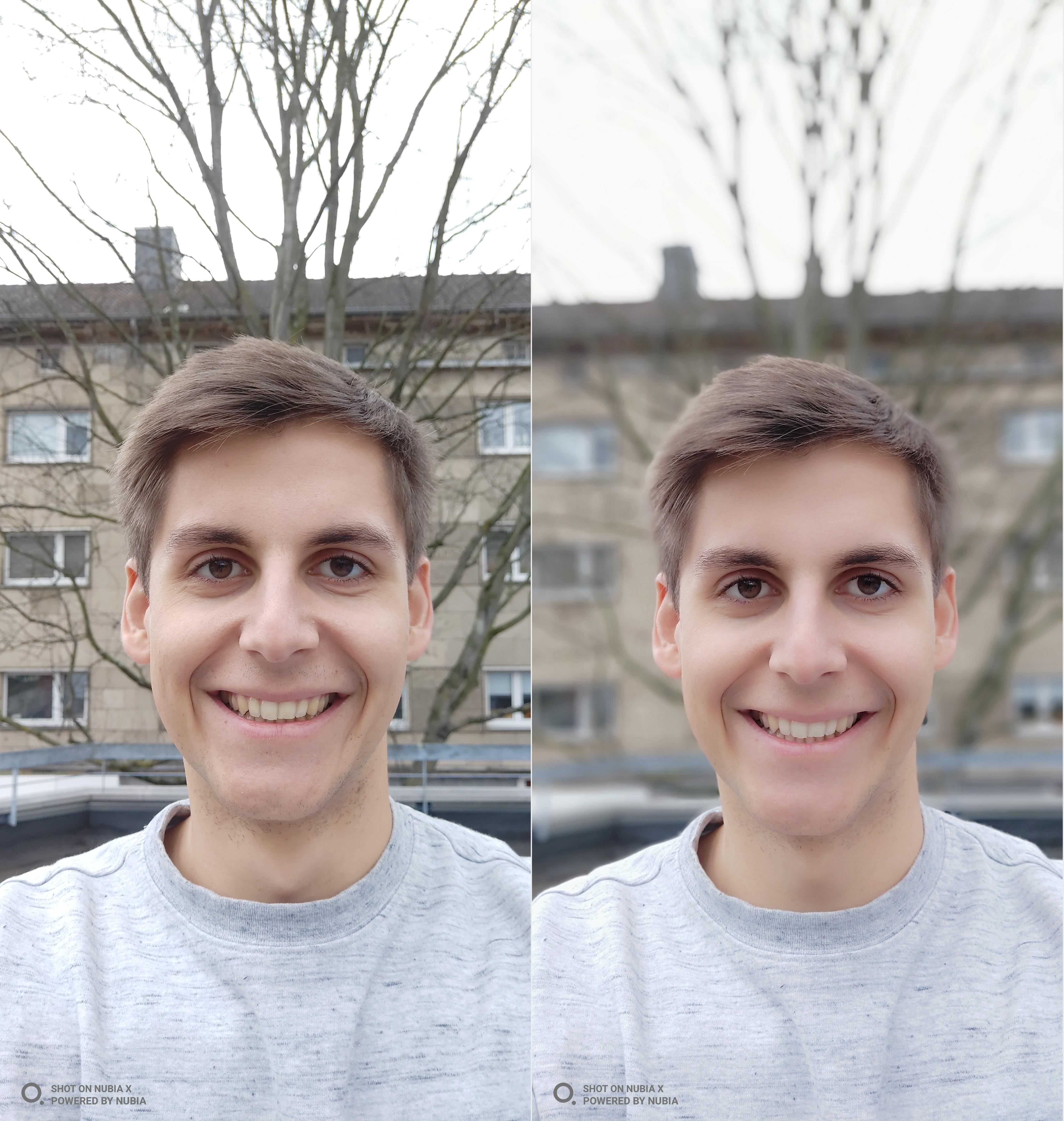 Nubia X Testfoto Selfie Portrait Vergleich