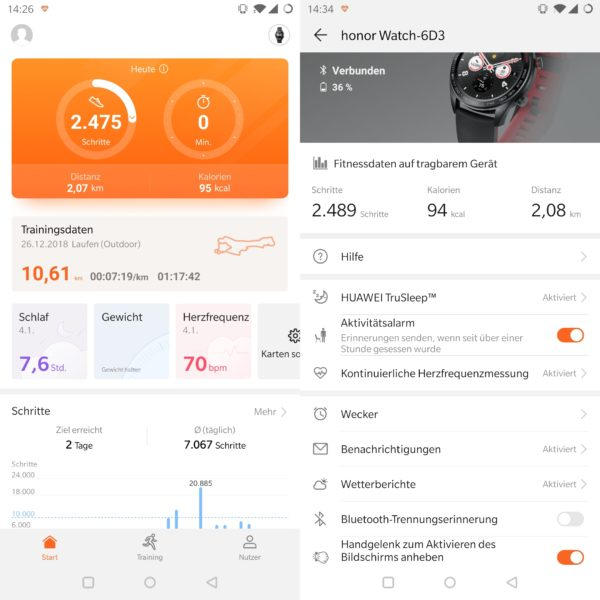 Honor Watch Magic Huawei Health App
