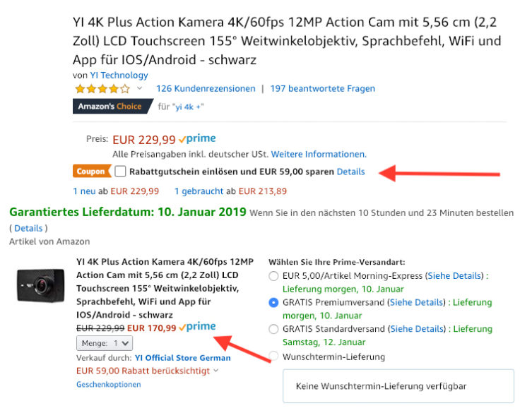YI 4K+ Action Cam Rabatt