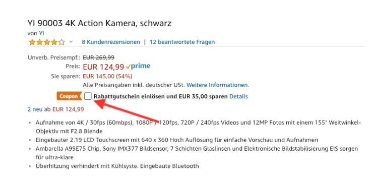 YI 4K Gutschein Amazon Rabatt