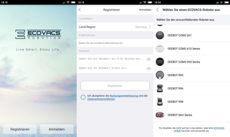 Ecovacs DEEBOT OZMO 930 Saugroboter App Registrierung