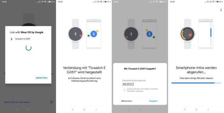 Ticwatch E Smartwatch Verbindung Google