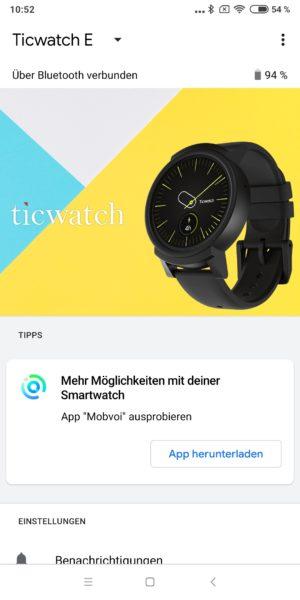 Ticwatch E WearOS App Übersicht