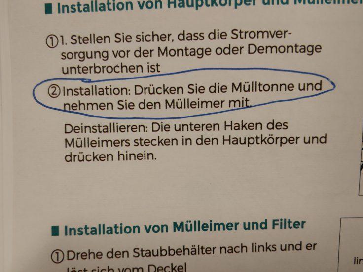 Houzetek UV-1001 Milben-Handsauger Bedienungsanleitung Mülltonne