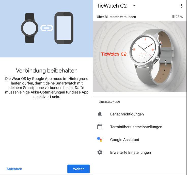 Ticwatch C2 WearOS App Verbindung