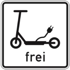 Verkehrszeichen Elektrokleinstfahrezeuge frei