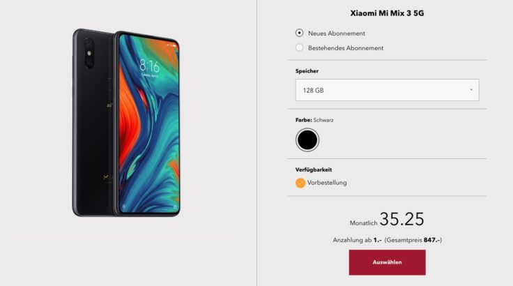 Xiaomi Mi Mix 3 5G Schweiz