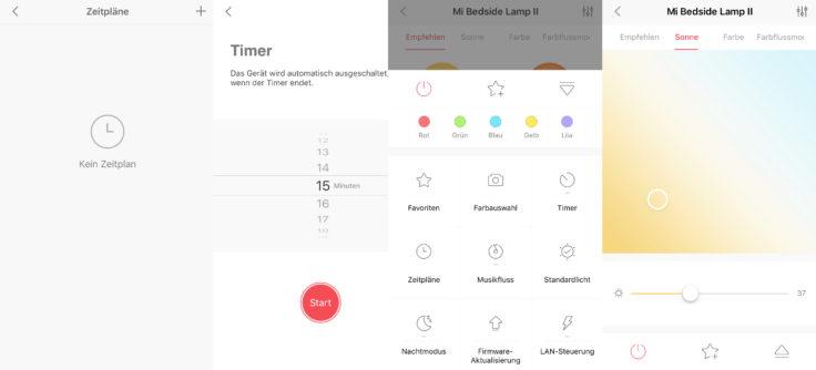 Xiaomi Mijia Nachttischlampe 2 Yeelight Funktionen