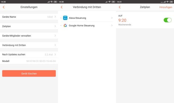 MinSu NV-01 Saugroboter WeBack App Einstellungen