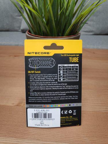 Nitecore Tube Verpackung Rückseite