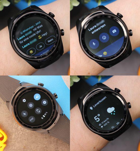 TicWatch Pro 4G LTE Schnelleinstellungen Whatsapp Emojis Wetter