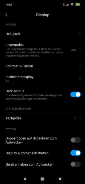 Xiaomi Mi 9 Display Dark Mode