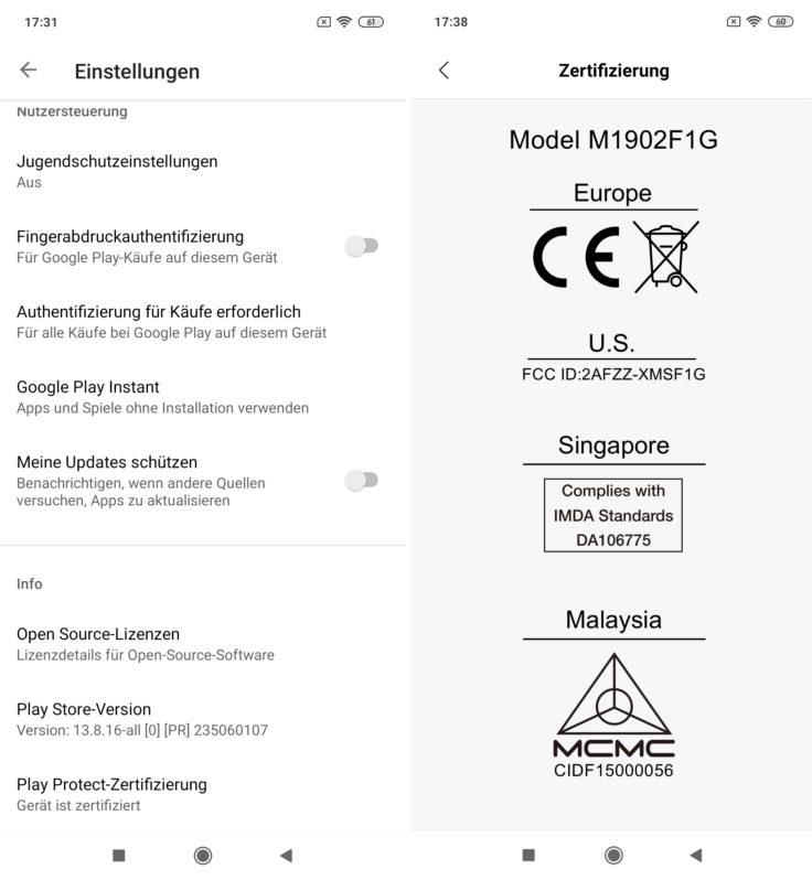 Xiaomi Mi 9 Google Play Store Zertifizierung CE