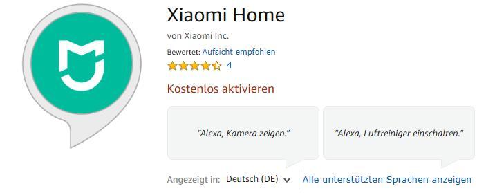 Xiaomi Mi Robot Saugroboter Alexa-Steuerung Skill