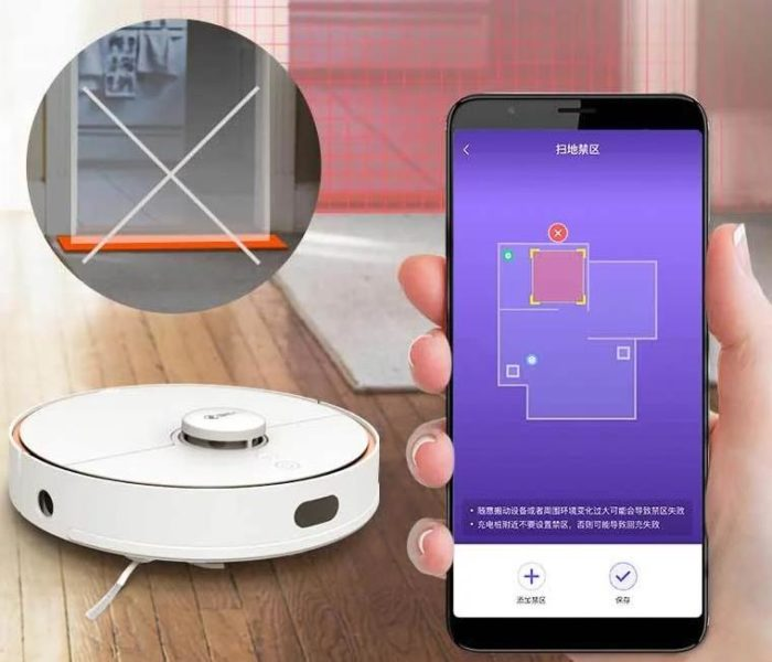 360 S7 Saugroboter App-Steuerung No-Go-Zonen