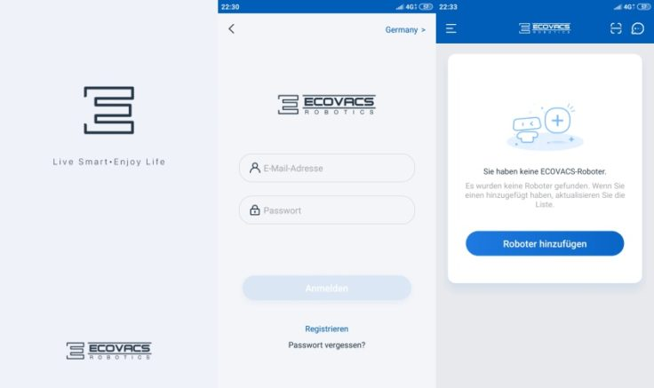 Ecovacs Home App Registrierung