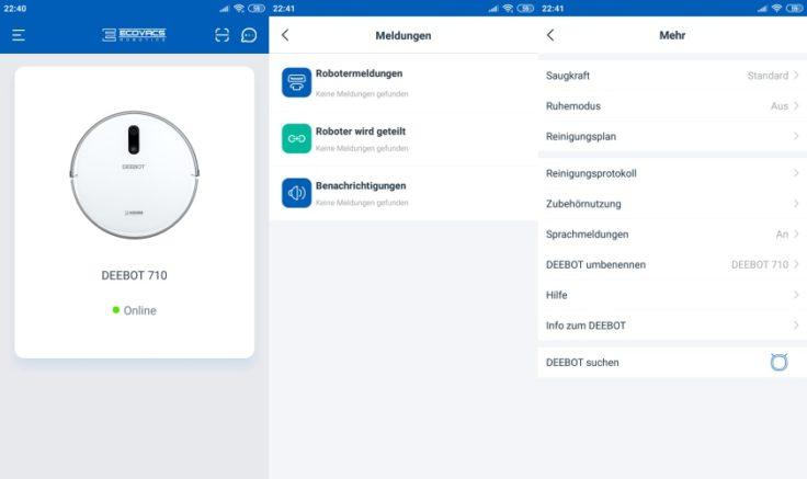 Ecovacs Home App Steuerung