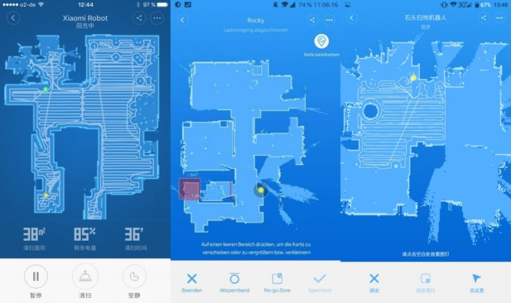 Saugroboter Laser-Raumvermessung Xiaomi Mapping App