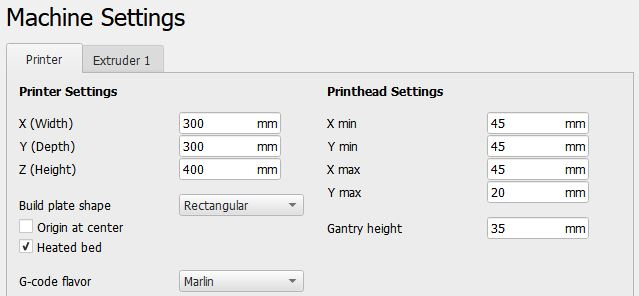 Machine Settings Cura