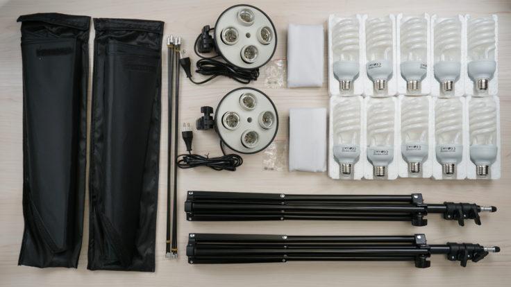 Craphy Stative, Boxen, FAssungen und Lampen im Lieferumfang.