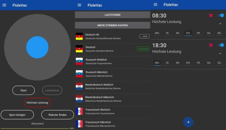 FloleVac App Funktionen