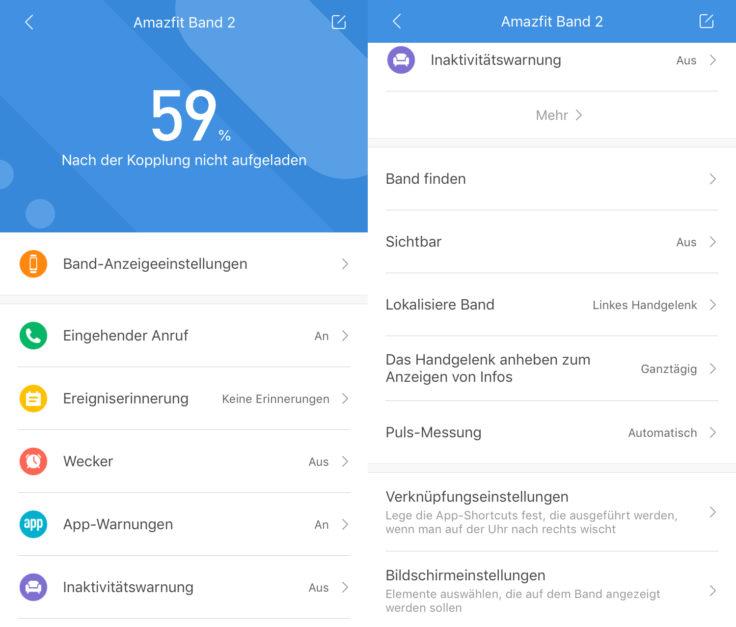 Huami Amazfit Cor 2 Mi Fit App Einstellungen