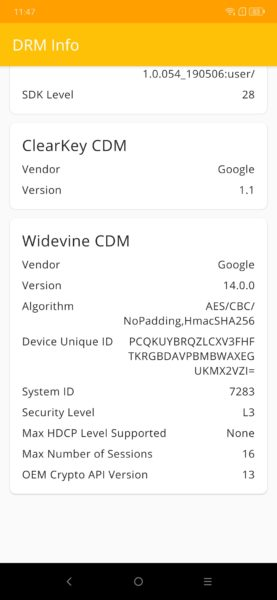 Lenovo Z6 Pro Widevine Level 3
