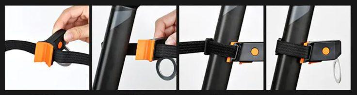 Klettverschluss an der Lampe anbringen, mit der Sattelstange verbinden und festziehen