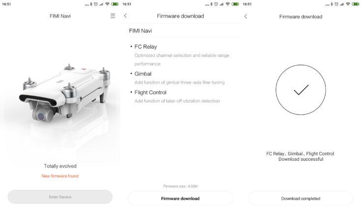 Xiaomi FIMI X8 SE Drohne App Screenshots Firmware Update