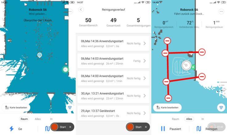Xiaomi Roborock S6 Saugroboter Mapping Raumeinteilung