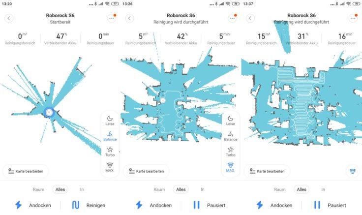 Xiaomi RoboRock S6 Saugroboter Mi Home App Mapping Reinigung Beginn