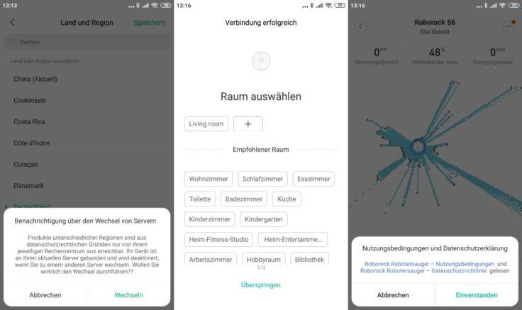 Xiaomi RoboRock S6 Saugroboter Mi Home App Server-Wechsel